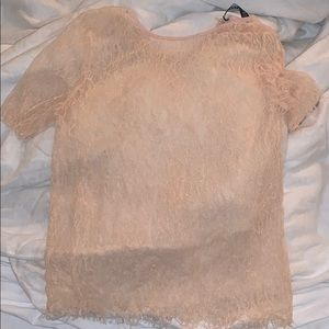 Pink Lace See through top
